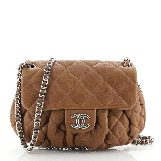 Chanel Leather Chain Around Flap Bag Quilted