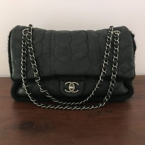 Chanel Black Leather and Wool Chic Knit Flap Bag_1