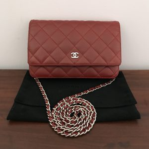 Chanel Red Wallet bag on Chain