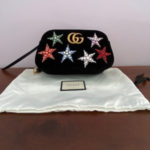 Gucci Black Velvet Star Crossbody