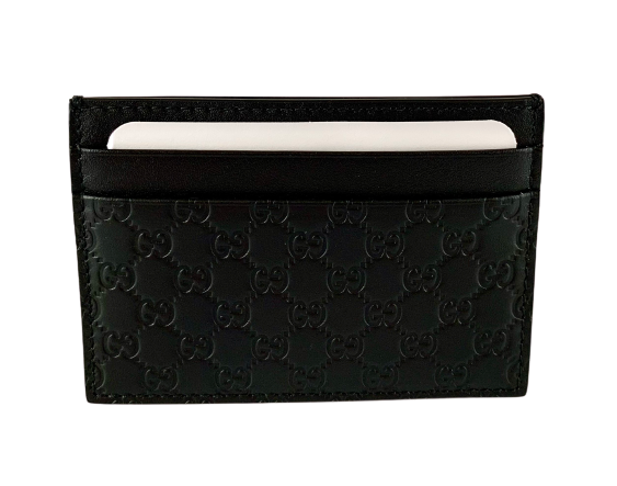 Gucci Black GG Monogram Card Holder