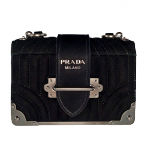 Prada Black Suede Diagramme Cahier Shoulder Bag